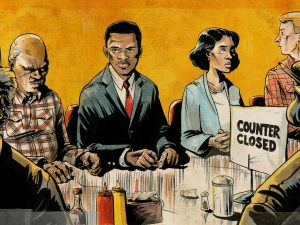 people of color sitting at a counter for whites; graphic novel illustration