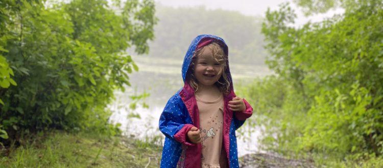 rainy hiking by a pond